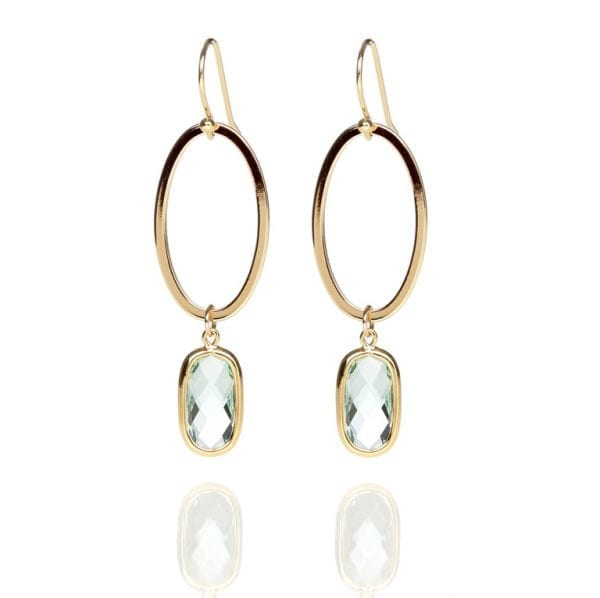 18 K gold plated, long earrings with green stone | Fairy