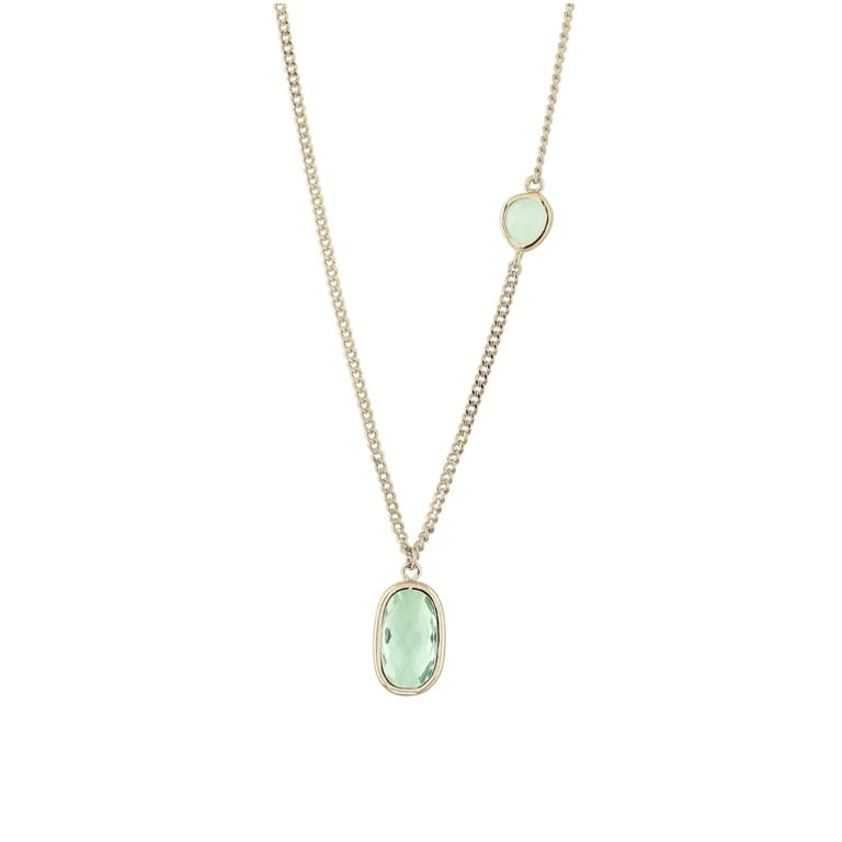 18 K gold plated, short necklace with green stone | Ocean