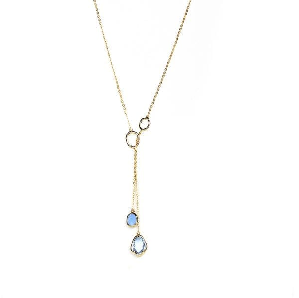 18 K gold plated, long necklace with blue stone | Lisa