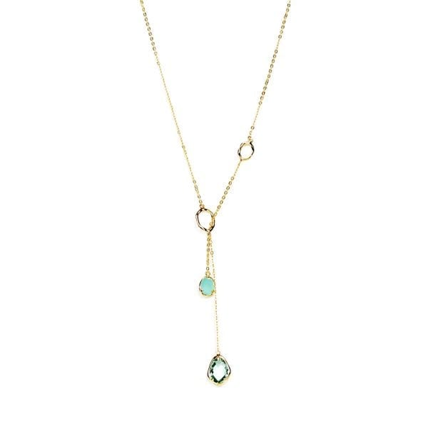 18 K gold plated, long necklace with green stone | Lisa