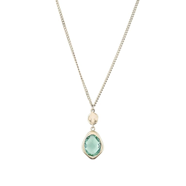 18 K gold plated, long necklace with green stone