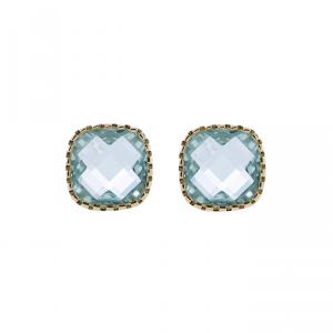 18 K gold plated earrings with green stone | Classic Stud