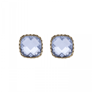 18 K gold plated earrings with blue stone | Classic Stud