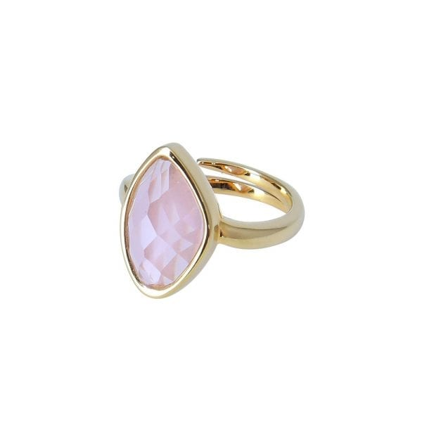 18 k plated gold ring with pink stone
