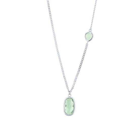Short silver necklace with green stone | Ocean
