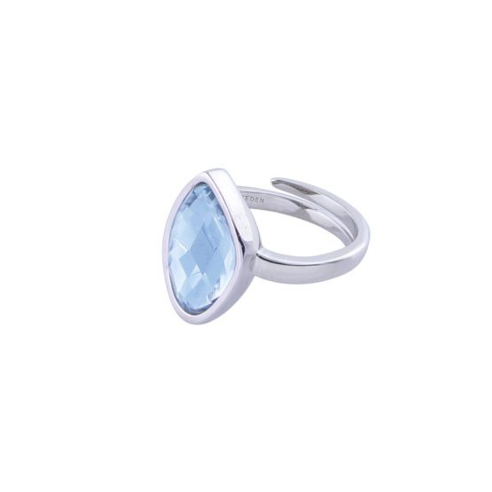 Silver ring with blue stone |