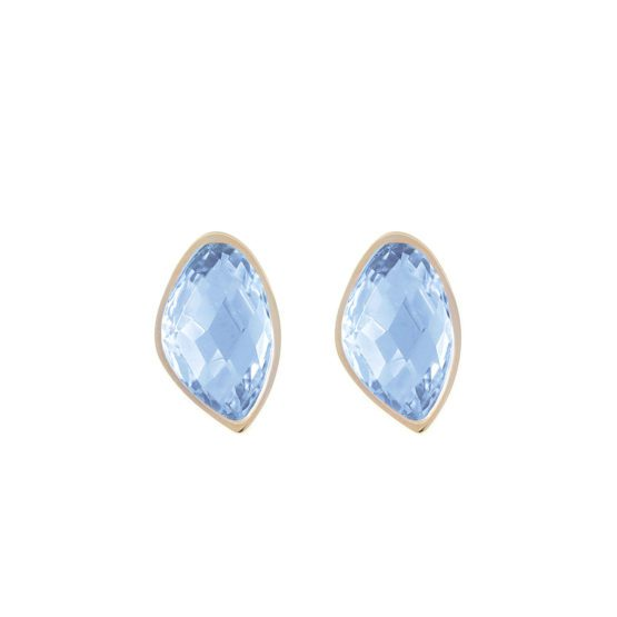 Star of Sweden gold earrings with blue stone