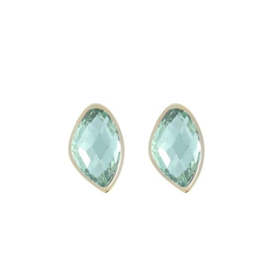 Star of Sweden gold earrings with green stone