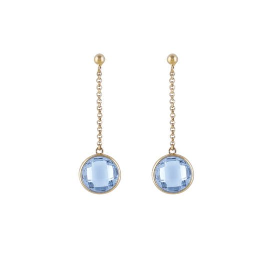 Long gold earrings with blue stone