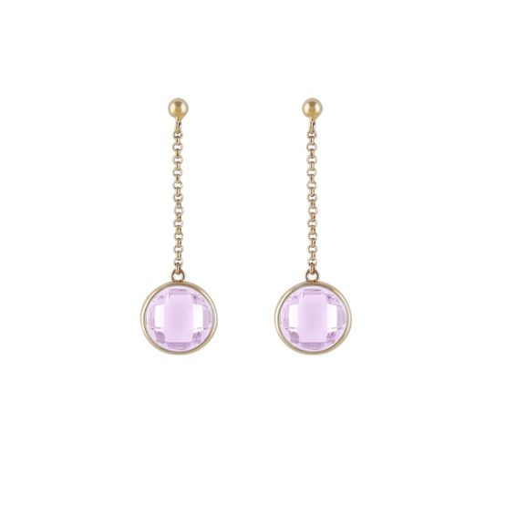 Long gold earrings with pink stone