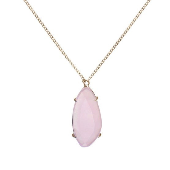 Gold long necklace with pink stone