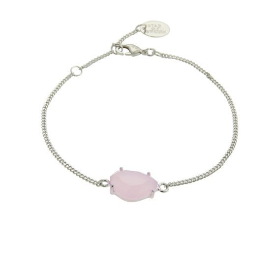 Silver bracelet with pink stone