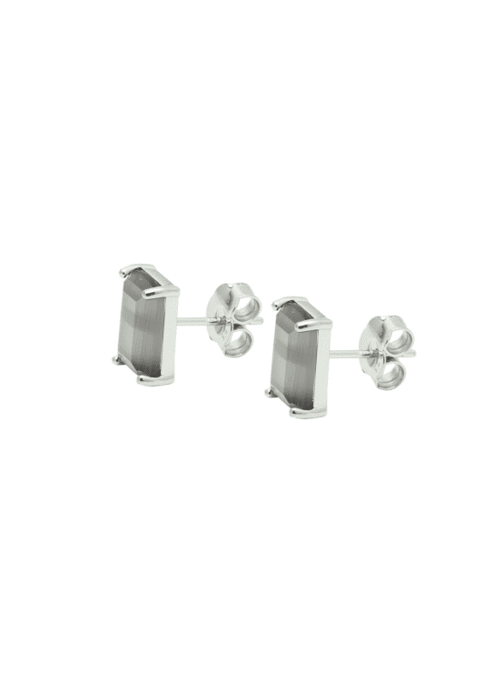 My kind of stud! Earrings | Gracy gray silver